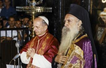 Le pape Paul VI et le patriarche Athénagoras (1964)